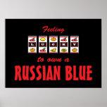 Afortunado a propio un diseño azul ruso del gato d impresiones