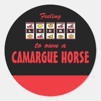 Afortunado a propio un diseño de la diversión del etiquetas redondas