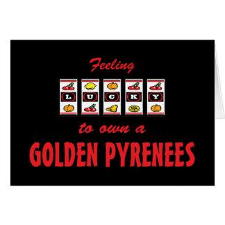 Afortunado a propio un diseño de oro del perro de  tarjeta de felicitación