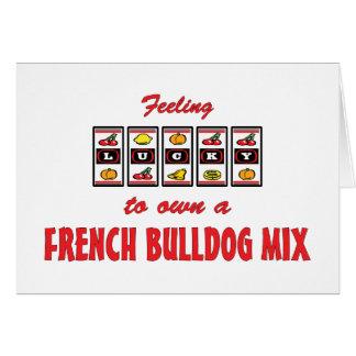 Afortunado a propio un diseño del perro de la dive tarjeta de felicitación