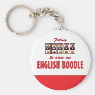 Afortunado a propio un diseño inglés del perro de  llavero redondo tipo pin