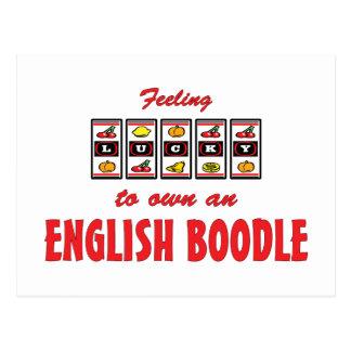 Afortunado a propio un diseño inglés del perro de tarjetas postales