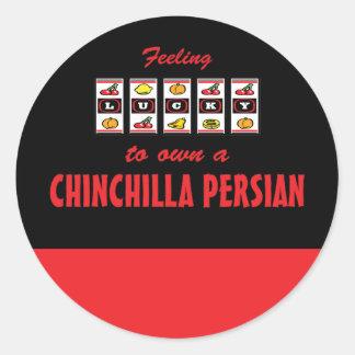 Afortunado a propio un diseño persa del gato de la etiquetas redondas