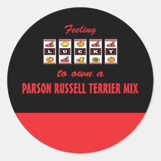 Afortunado a propio una mezcla de Russell Terrier Pegatina Redonda