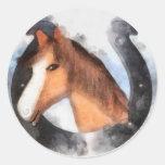 Afortunado el caballo etiquetas redondas