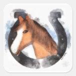Afortunado el caballo pegatina cuadrada