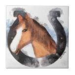 Afortunado el caballo teja cerámica