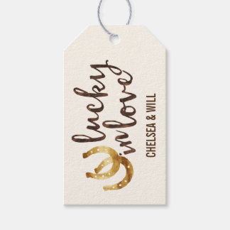 Afortunado en las etiquetas de herradura del favor etiquetas para regalos