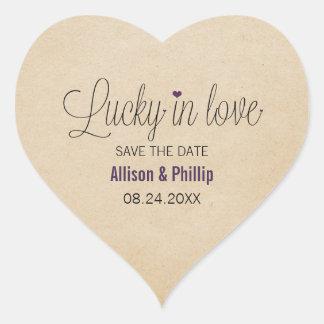 Afortunado en reserva del amor los pegatinas de la pegatina en forma de corazón
