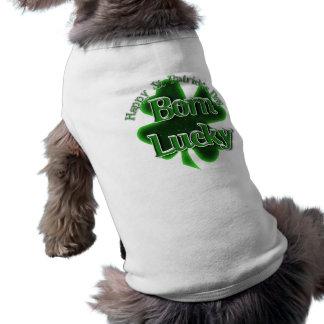 Afortunado nacido - el día de St Patrick feliz Camisetas Mascota