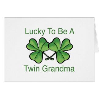 Afortunado para ser abuela gemela tarjeta