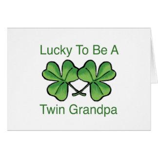 Afortunado para ser abuelo gemelo tarjeta