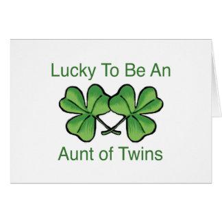 Afortunado para ser tía gemela tarjetas