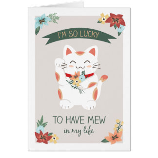 Afortunado para tener maullar tarjeta de felicitac