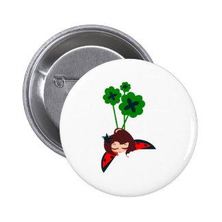 afortunado verde pin redondo 5 cm
