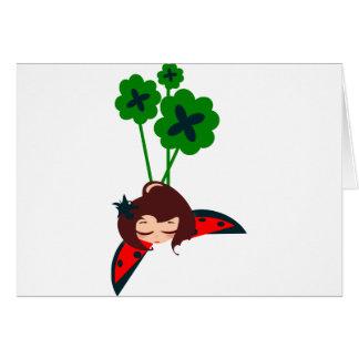 afortunado verde tarjeta de felicitación