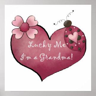 Afortunado yo soy regalos de una abuela póster