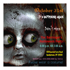 Afraid Doll Scary Halloween Semi Gloss Invitation at Zazzle