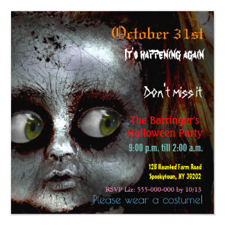 afraid doll scary halloween semi gloss invitation - Pictures Of Scary Halloween