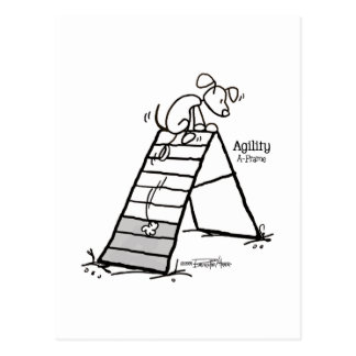Aframe: Agility dog cartoon - A-Game - agility Postcard