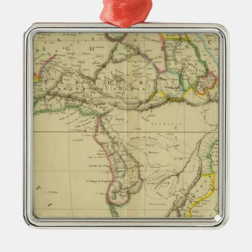 Africa 6 square metal christmas ornament