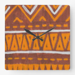 Africa art square wall clock