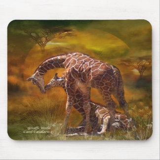 África - arte Mousepad del mundo de la jirafa Tapete De Ratón