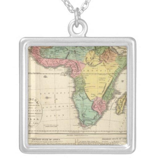 Africa Atlas Map 2 Square Pendant Necklace