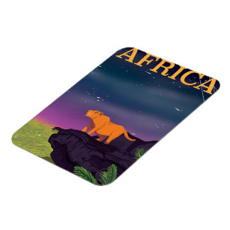 Africa Big Cat Retro Style travel poster Magnet