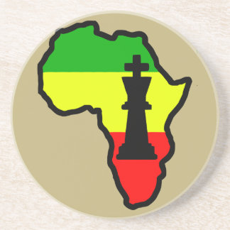 Africa Black King Chess Piece Drink Coaster