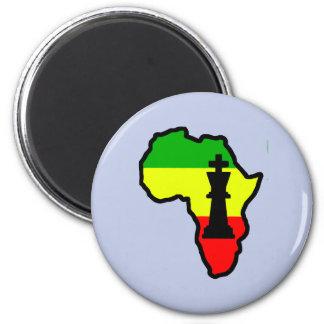 Africa Black King Chess Piece 2 Inch Round Magnet
