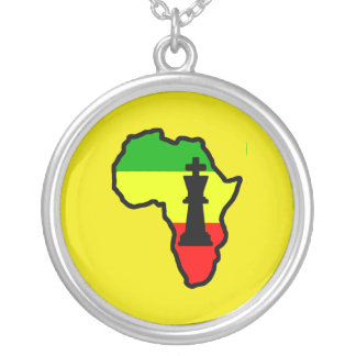 Africa Black King Chess Piece Round Pendant Necklace