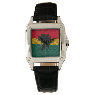 Africa Black Red Gold Green Crochet Print Leather Wrist Watch