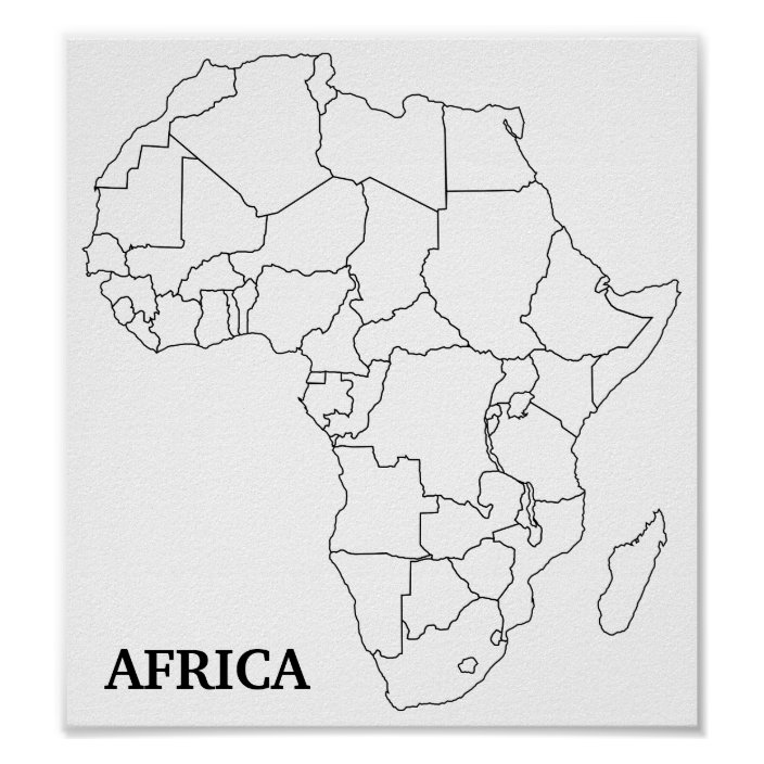 Africa Blank Map Poster Zazzle Com