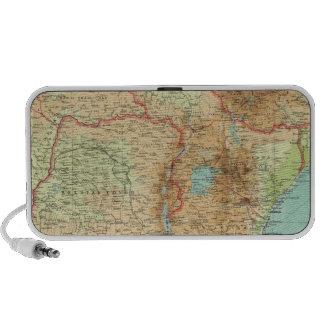 África central y meridional con las rutas de envío altavoces de viaje