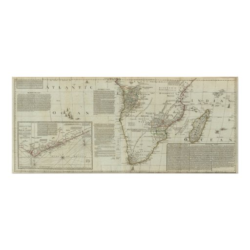 África, con todos sus estados, reinos póster