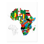 Africa Continent Flag Map Postcard