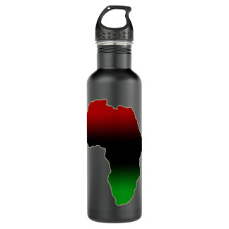 Africa continent in red, green, & black 24oz water bottle