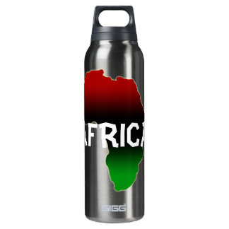 Africa continent in red, green, & black 16 oz insulated SIGG thermos water bottle