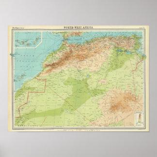 África del noroeste con las rutas de envío póster