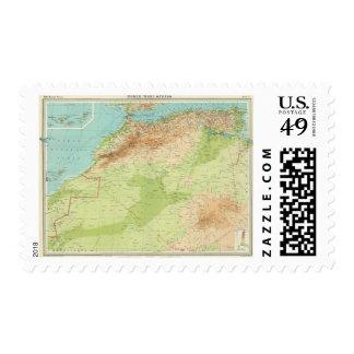 África del noroeste con las rutas de envío sello