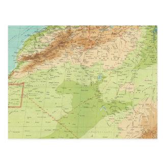 África del noroeste con las rutas de envío tarjetas postales