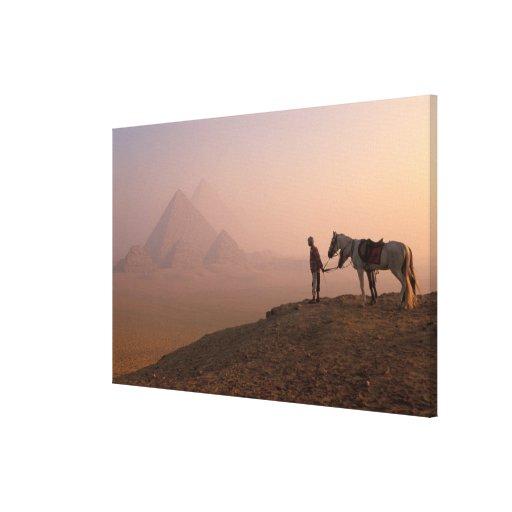 Africa, Egypt, Cairo, Giza, Giza pyramids at Canvas Print