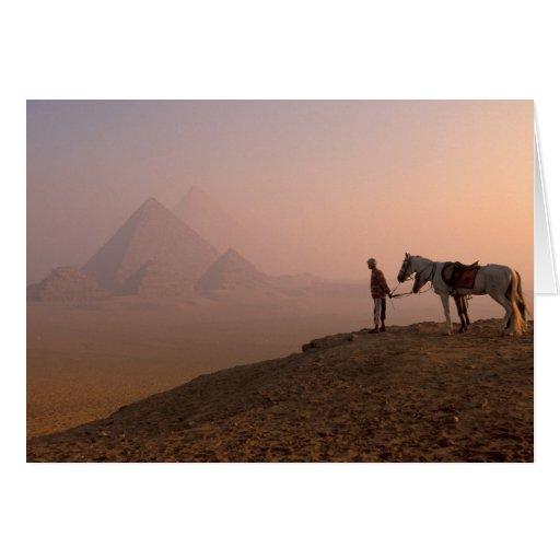 Africa, Egypt, Cairo, Giza, Giza pyramids at Cards