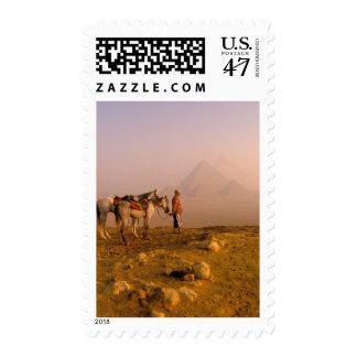 Africa, Egypt, Cairo, Giza. Giza pyramids at Postage