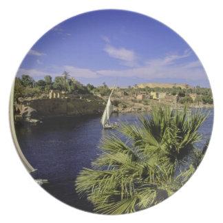 Africa, Egypt, Upper Egypt, Aswan. Feluccas 2 Party Plate