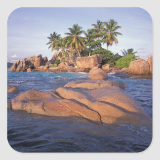África, el Océano Índico, Seychelles, Praslin Pegatina Cuadrada