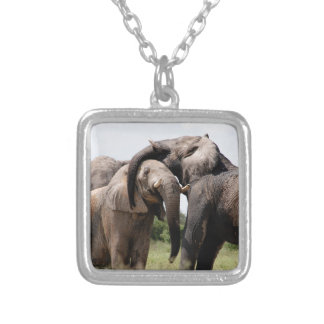 Africa Elephant Family Silver Plated Necklace