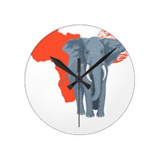 Africa Elephant Round Clock