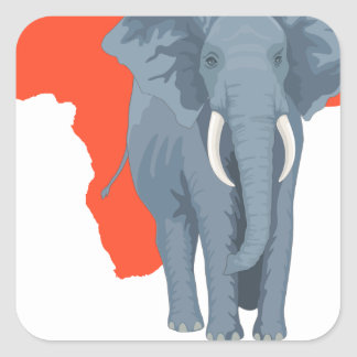 Africa Elephant Square Sticker